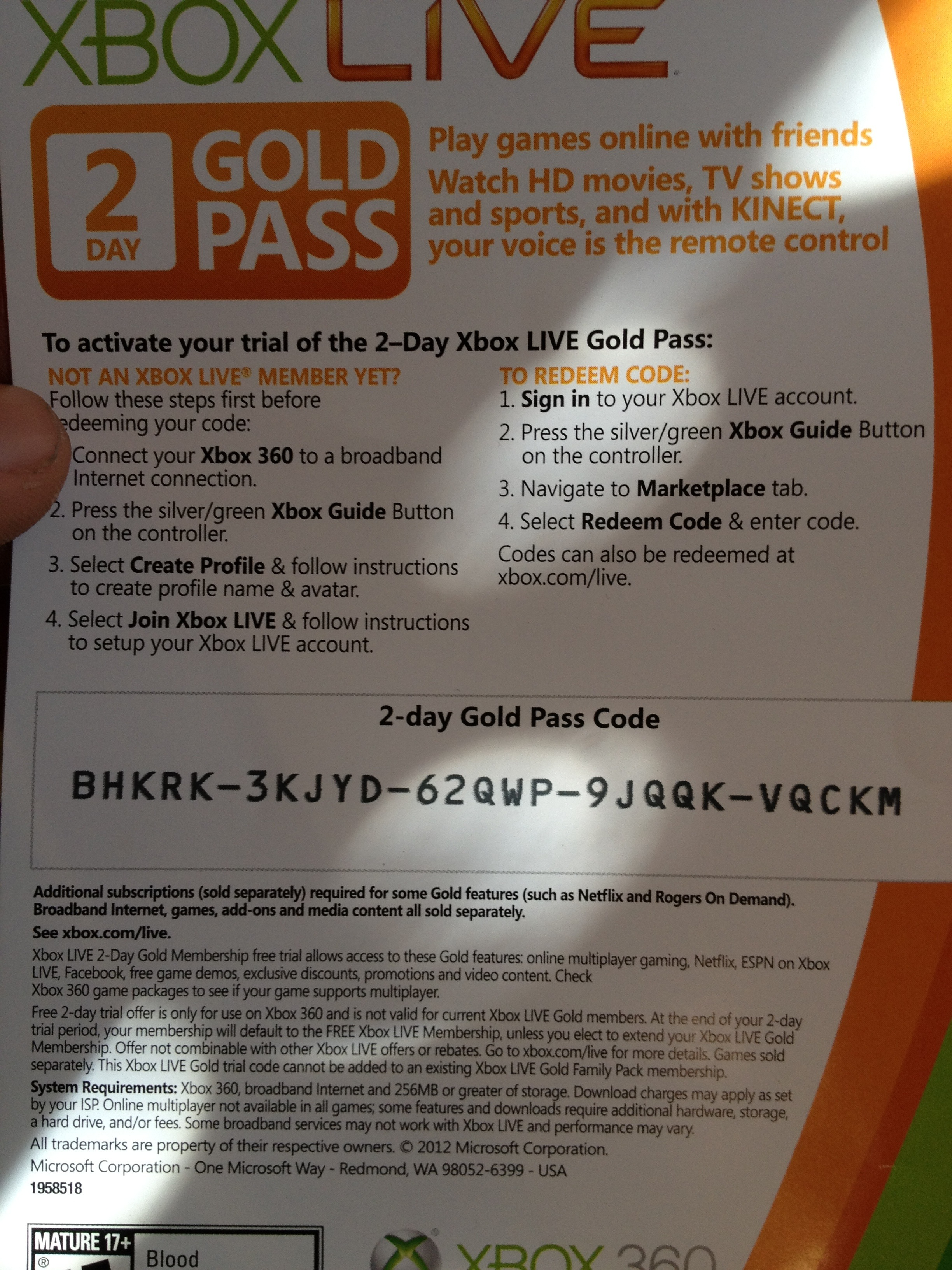 Free Two Day Xbox Live